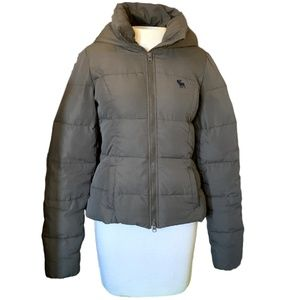 Down Puffer Jacket, Abercrombie and Fitch, Green